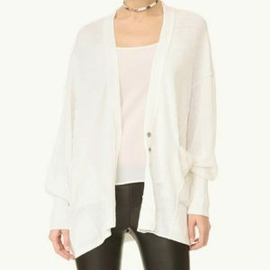 Free People white Days Like These linen cardigan